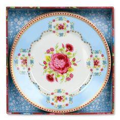 Antique Rose Blue Dessert Plate Set of 4
