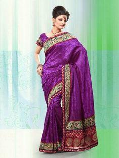 Purple Banarasi Jacquard Silk Saree With Stone Work