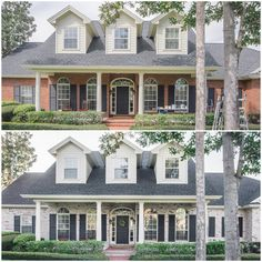 How to Limewash a Brick House in Two Days by Artistic Finishes of North Florida…. How to Limewash a Brick House in Two Days by. Brick Exterior Makeover, White Wash Brick Exterior, House Paint Exterior, Exterior Remodel, Exterior House Colors, Exterior Houses, White Siding, Black Shutters, Exterior Shutters