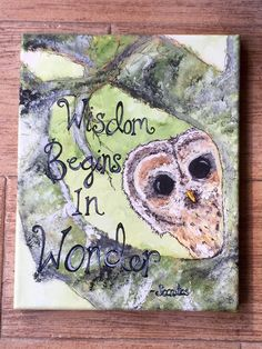 A personal favorite from my Etsy shop https://www.etsy.com/listing/246686369/handpainted-owl-mixed-media-art-with