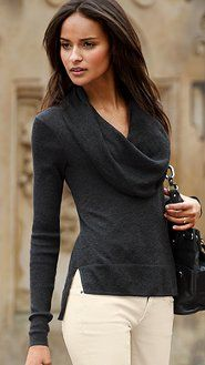 Victoria's Secret - stunning cowl neck slate gray sweater- it looks amazing here with white jeans and a black bag
