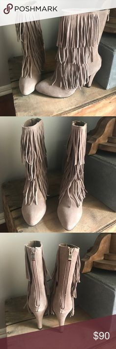 Fringe Boots Brand new never worn beige fringe boots. Tags still attached. Zipper at the back to get them on and off Catherine Malandrino Shoes Ankle Boots & Booties
