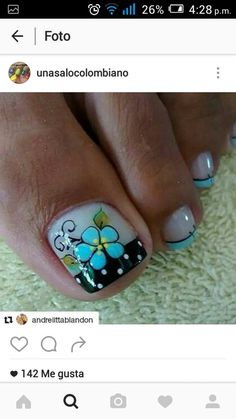 Uñas Great Nails, Fabulous Nails, Love Nails, Pedicure Nail Art, Toe Nail Art, Cute Pedicure Designs, Nail Picking, Cute Pedicures, Magic Nails