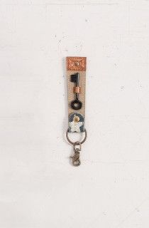 Mona B Stardust Key Fob - Material : Up-cycled truck tarps & military tents + canvas Trim : Genuine leather, antique metal hardware