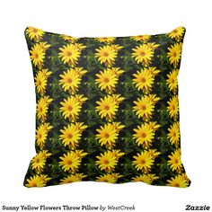 Sunny Yellow Flowers Throw Pillow