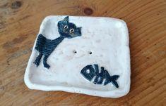 Seifenschale Keramik Katze und Fisch Blautöne Bad Wellness Seifenunterlage Seifenablage