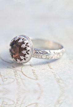 Smokey Quartz Sterling Silver Ring  Crown Bezel by ButtercupandCo, $85.00