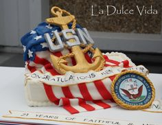 U.S. Navy Chief, American flag, fondant anchor, retirement cake Retirement Celebration, Retirement Cakes, Retirement Parties, Retirement Ideas, Navy Birthday, Birthday Cake, Us Navy Seabees, Anchor Cakes, Navy Cakes