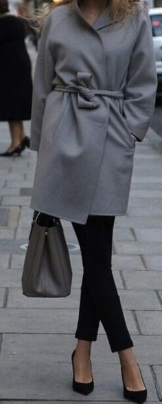 http://media-cache-ak1.pinimg.com/736x/a0/c9/55/a0c95595ebd92941da0c1fcbd4364461.jpg. Pointed toe shoes, boyfriend pants in black, grey coat and grey tote. Totally in love with this  outfit.
