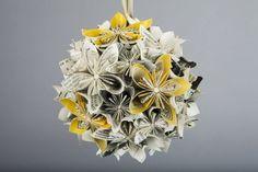 yellow-gray-newspaper-paper-flowers-pomander