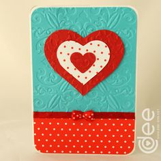 red dots heart card. Dee Dee, Heart Cards, Red Dots, I Card, Craft Ideas, Craft Cards, Valentine's Day Diy, Diy Ideas