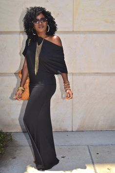 Style Pantry | Black Off Shoulder Maxi Dress
