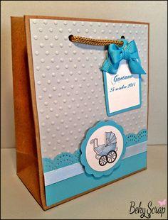 Beky Scrap: Bolsas regalo personalizadas para el bautizo de Gaetano