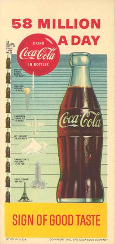 wow! an old school infographic in a coca cola ad from the late 50s/early 60s