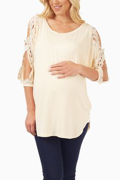 Beige Crochet Accent Open Sleeve Maternity Top #maternity #maternityclothes #cutematernity