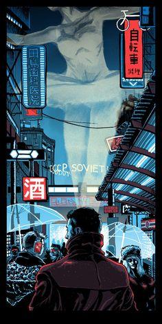 Blade Runner 2049 poster by Tim Doyle. Ville Cyberpunk, Arte Cyberpunk, Cyberpunk Aesthetic, Cyberpunk City, Blade Runner Art, Blade Runner 2049, Blade Runner Wallpaper, Blade Runner Poster, Films Cinema