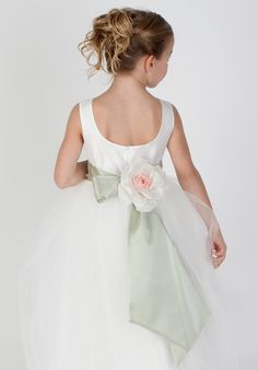 flower girl dress - could be very pretty changed to dark blue sash with green/gold accent flower.