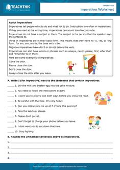 ESL Imperatives Worksheet - Reading and Writing Activity - Pre-intermediate - 30 minutes This informative worksheet helps students to learn and practice imperatives. English Teaching Resources, English Grammar Worksheets, Teaching English Online, English Activities, Proper Nouns Worksheet, Free Printable Math Worksheets, Good Grammar, Teacher Page, Grammar Activities