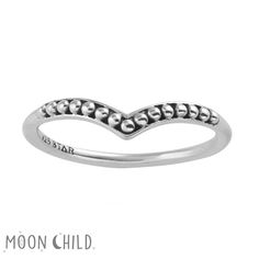 Image of Beaded chevron ring (Sterling Silver)