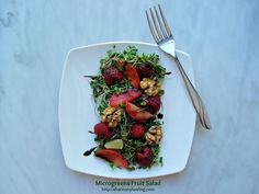 This Fruit and microgreens salad is so good! It has 3 fruits and is topped with a lemon vinaigrette and drizzled with balsamic syrup. #microgreens #Vegan  #Vegetarian  #Paleo #GlutenFree   #DairyFree