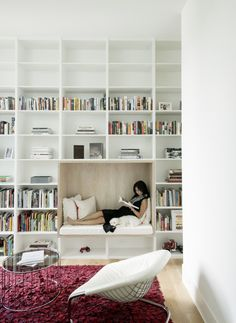 A cozy reading nook in a spacious home library. A cozy reading nook in a spacious home library. Library Room, Dream Library, Library Shelves, Bookshelf Bench, Bedroom Bookshelf, Floor To Ceiling Bookshelves, Cozy Library, Office Bookshelves, Creative Bookshelves
