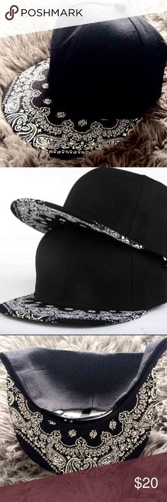 Black paisley brim Hat (bandana print) Black paisley brim Hat (bandana print) Accessories Hats