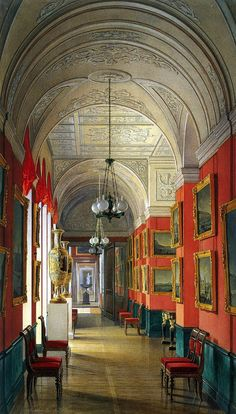 """ghosts-of-imperial-russia: """"Interiors of the Small Hermitage. The Gallery of St Petersburg's Views Hau, Edward Petrovich Russia, 1864 """" Interiores Art Deco, Winter Palace, Hermitage Museum, Interior Rendering, Second Empire, Imperial Russia, Famous Places, Beautiful Architecture, Cathedral"""