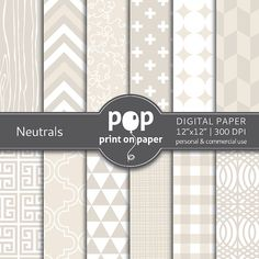 Wedding digital paper NEUTRALS digital paper by POPprintonpaper