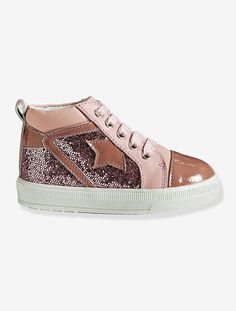2efd18671 Zapatillas de caña alta de piel brillante y cordones