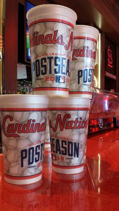 Our new postseason souvenir cup at the Cardinals Nation Restaurant. Keep your cup with every beer/upgraded soda purchase