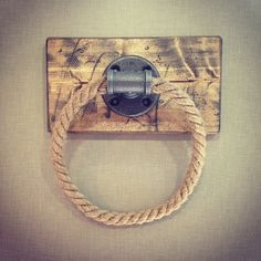 OMG I LOVE THIS!!!  Industrial/Rustic Handmade Rope Towel Holder with Wood by Lulight, $55.00