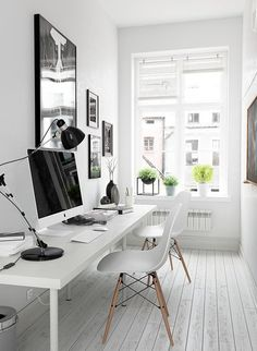 Creative Home Office Design Ideas. Thus, the need for home offices.Whether you are intending on including a home office or remodeling an old space right into one, here are some brilliant home office design ideas to help you get started. Small Home Offices, Home Office Space, Office Workspace, Home Office Design, Home Office Decor, House Design, Home Decor, Small Workspace, Office Setup