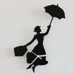 Silhouette Mary Poppins Wall Clock Black,Wall Clocks