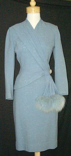 1940's Lilli Ann Asymmetrical Suit w/ Blue Fox Trim
