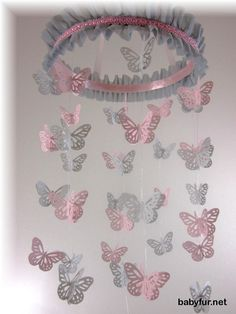 Butterfly Mobile, Pink and Grey Butterfly Mobile, Nursery Mobile, Nursery Bedding, Nursery Decor, Baby Shower Gift, Wedding Mobile - http://babyfur.net/butterfly-mobile-pink-and-grey-butterfly-mobile-nursery-mobile-nursery-bedding-nursery-decor-baby-shower-gift-wedding-mobile.html