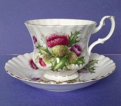 """Royal Albert Teacup Set """"Highland Thistle"""" Teacup and Saucer Purple Blooming Thistles"""