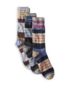Florsheim Men's Multicolor Stripe Socks (3 Pair)   (Navy/Brown/Charcoal)***