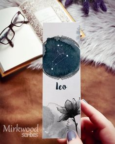 Leo bookmark! Creative Bookmarks, Paper Bookmarks, Cute Bookmarks, Watercolor Bookmarks, Watercolour, Handmade Bookmarks, Corner Bookmarks, Watercolor Leaves, Zodiac Art