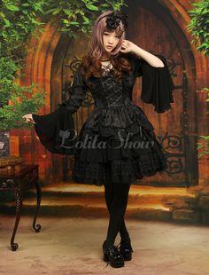 Gothic Black Chiffon Jacquard Cute Lolita One-Piece