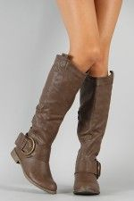 Jency-2 Buckle Riding Knee High Boot