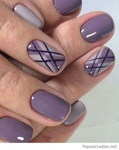 Awesome purple nail art with glitter and print