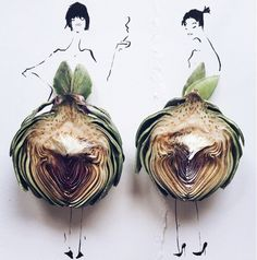 Gretchen Röehrs, a fashion illustrator, is creating beautiful fashion sketches and incorporating real food into the Instas
