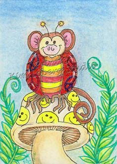 hippie Monkey lady bug ACEO PRINT EBSQ Kim Loberg fantasy Insect Art mushroom er #IllustrationArt