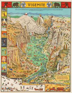 Yosemite, 1931. Jo Mora, illustrator.  Dedicated to his friend, Stephen T. Mather, first Director of U.S. National Park Service.