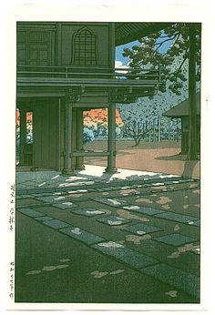 Historia de las estampas japonesas del 17 al siglo 20, de l'Ukiyo-e au Shin Cuelgue | Bronzo Reader   Hasui Kawase (1883-1957)  El templo Nobidome 1953