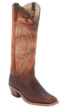 Anderson Bean Men's Brown with Tall Orange Top Double Welt Square Toe Western Boots