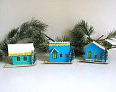 Antique Putz Houses, Turquoise, Christmas Decor, Japan, Vintage Village, Dimestore Christmas, Glitter Houses, Etsy Treasury ›Happy Happy Joy Joy > by Bambie Jones