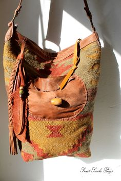 6fe79e4655 Mexican carpet leather shopper bag tassel southwestern tribal navajo gypsy  native boho bohemian tote bag wool blanket kilim bag festival