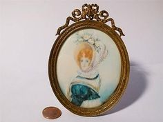 Antique Portrait Miniature of Red Haired Lady Wearing Large Flower Bonnet Signed | eBay