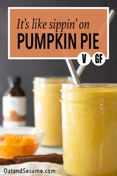 Pumpkin Season Favorite! Delicious  Creamy, this Vegan Pumpkin Pie Smoothie is perfectly balanced with pumpkin spice, maple syrup and salt! #VeganSmoothie | #PumpkinSmoothie | #PumpkinEverything | #HealthyRecipes at OatandSesame.com #OatandSesame
